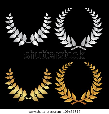 Silver and Gold Wreath sports, symbol of victory in the vector - stock vector
