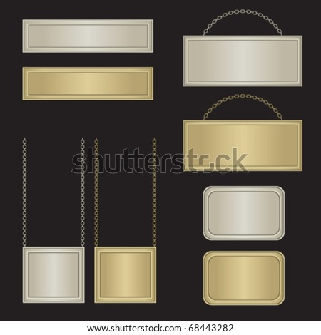 Silver and golden boards - stock vector