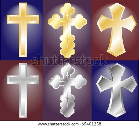 silver and golden crosses - stock vector