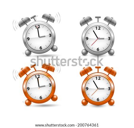 Silver and orange alarm clocks in vector - stock vector