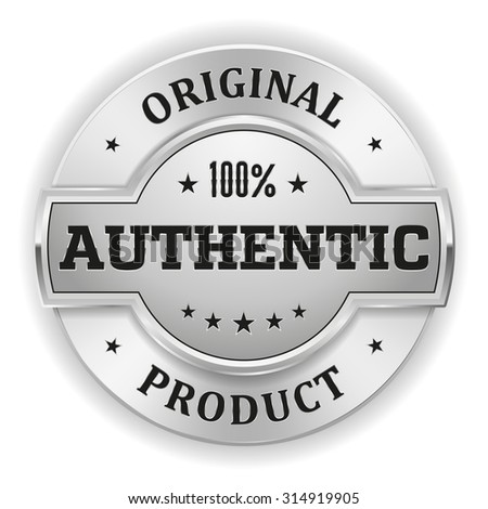Silver authentic product badge on white background - stock vector