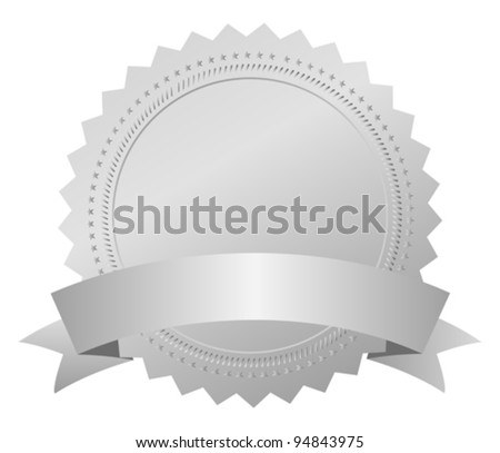 Silver award medal, vector illustration
