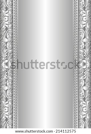 silver background with abstract ornaments - stock vector