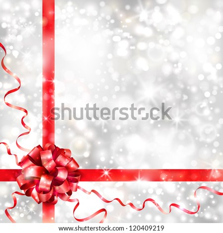 Silver background with red bow. EPS10 - stock vector
