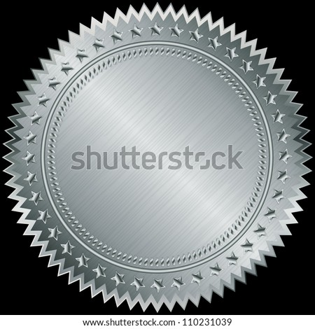 Silver blank label, vector illustration - stock vector