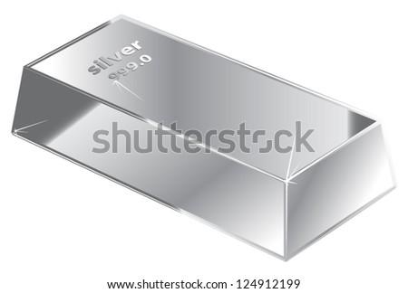 Silver brick - stock vector