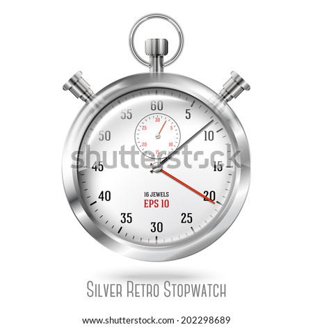 Silver bright stopwatch clock isolated on white background. Vector