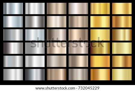 Silver, bronze and gold foil texture background set. Vector golden elegant, shiny and metal gradient collection for silver border, frame, ribbon, label design.