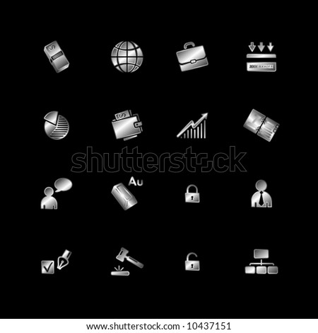 Silver business icons - stock vector