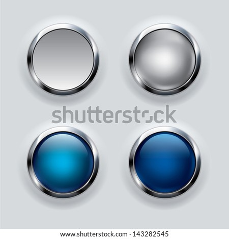 silver button set on gray background  - stock vector