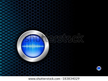 Silver button with blue sound wave sign for poster or booklet - stock vector