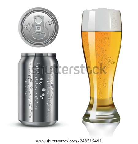 Silver can and beer glass isolated on white. Vector illustration - stock vector