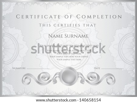 Silver certificate diploma completion design template stock vector silver certificate diploma of completion design template sample background with guilloche pattern yadclub Image collections