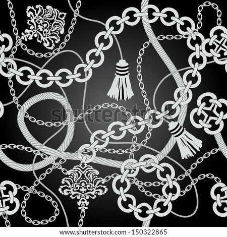 Silver chain seamless vector background. - stock vector