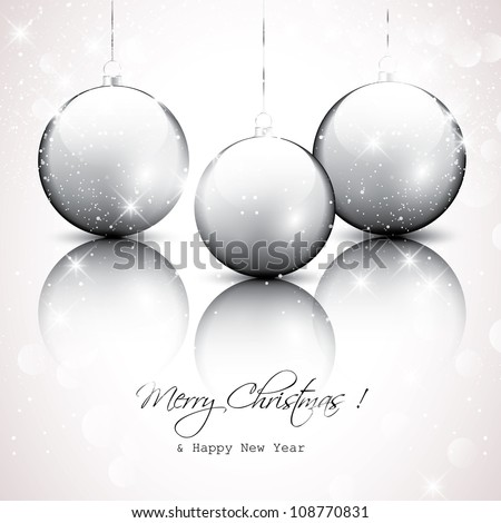 Silver christmas background - stock vector
