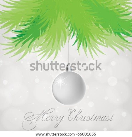 Silver Christmas ball on abstract  lights background - stock vector