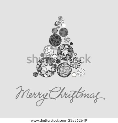 Silver Christmas card - stock vector