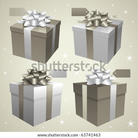 Silver Christmas gift boxes