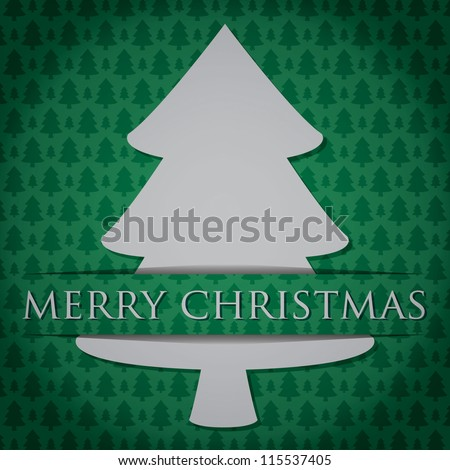 "Silver Christmas Tree ""Merry Christmas"" card in vector format. - stock vector"