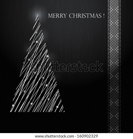 Silver Christmas tree on black background. Vector eps10 - stock vector