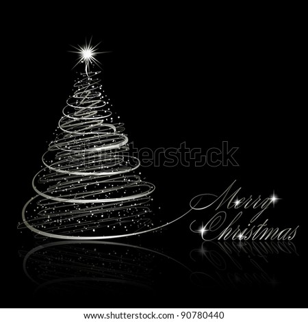 silver christmas tree on black background vector eps10 illustration - Silver Christmas Tree
