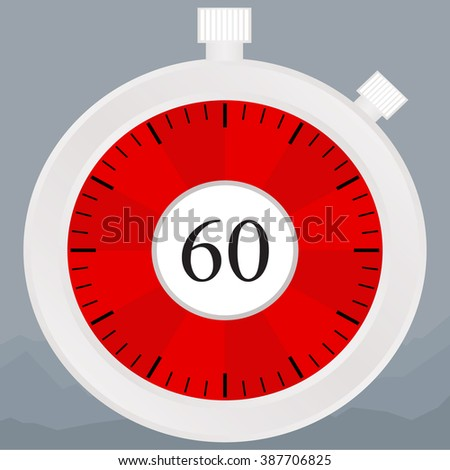 Silver chronometer set on 60 seconds, isolated on white - stock vector
