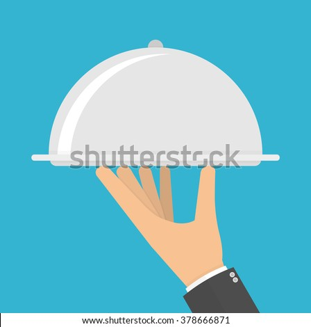 Silver cloche in hand concept. Hand holding or carrying silver serving platter with cover. Flat style  - stock vector
