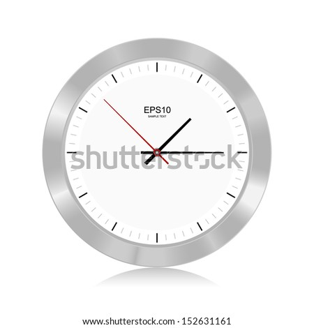 Silver clock on white background - Vector illustration - stock vector