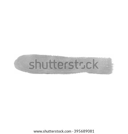 Silver color paint smear vector brush stroke. Varnish splash line. Abstract shape acrylic oil paint.  - stock vector