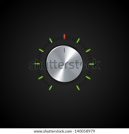 Silver Control Dial with Glowing Indicators on a Black Background - stock vector