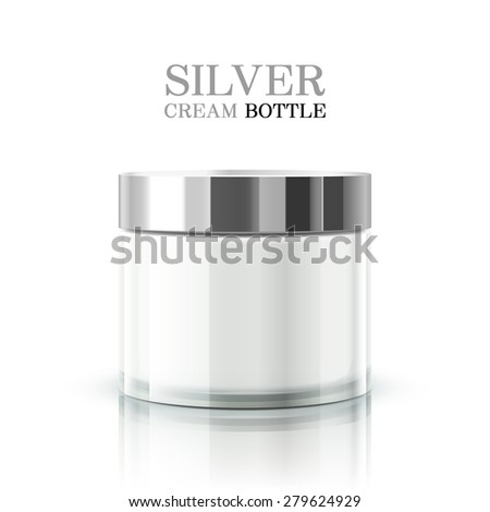 silver cream bottle package isolated on white background