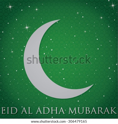 "Silver crescent moon ""Eid Al Adha Mubarak"" (""Festival of the sacrifice"") card in vector format.  - stock vector"