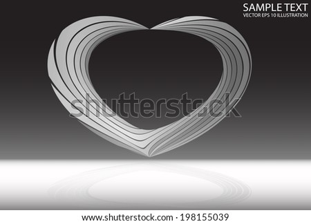 Silver curved reflection background illustration - Metal curved modern frame design  template reflected - stock vector
