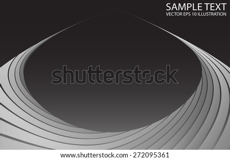 Silver curved space abstract background illustration template - Metal abstract curved   modern design template - stock vector