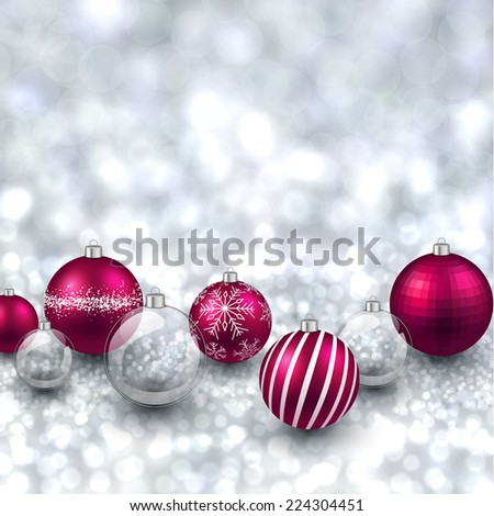 Silver defocused with magenta christmas balls background. Bright bokeh. Vector illustration. - stock vector