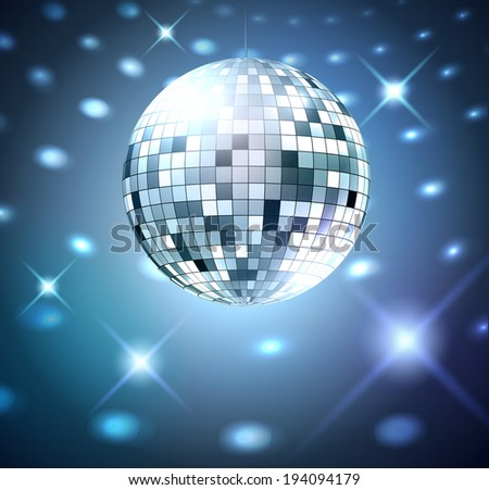 Silver disco ball on glowing background. Vector illustration. - stock vector