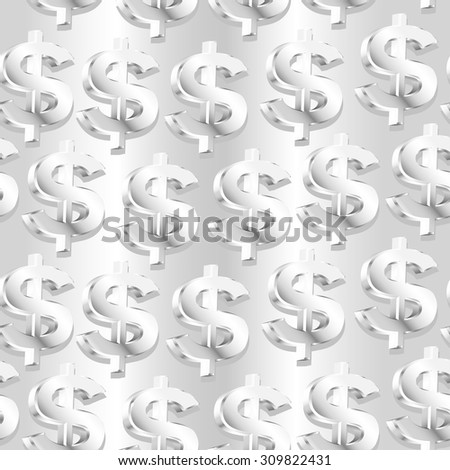 Silver dollar symbol in a seamless pattern. - stock vector