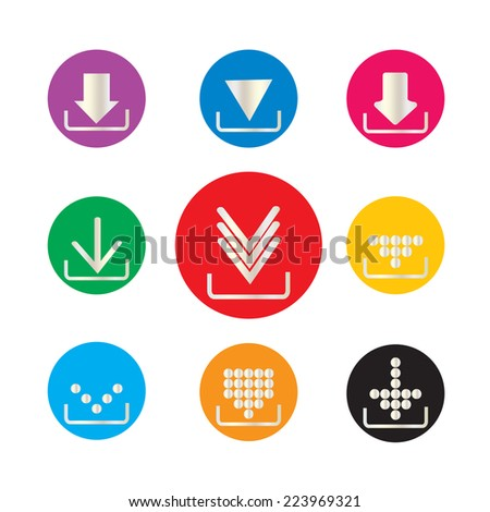 silver download icon set on white background  vector - stock vector