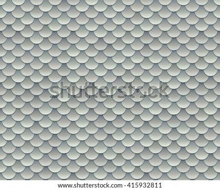 Silver fish scale texture or metal armor seamless pattern. Vector illustration. - stock vector