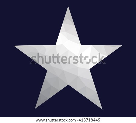 Silver five pointed star made from polygons - stock vector