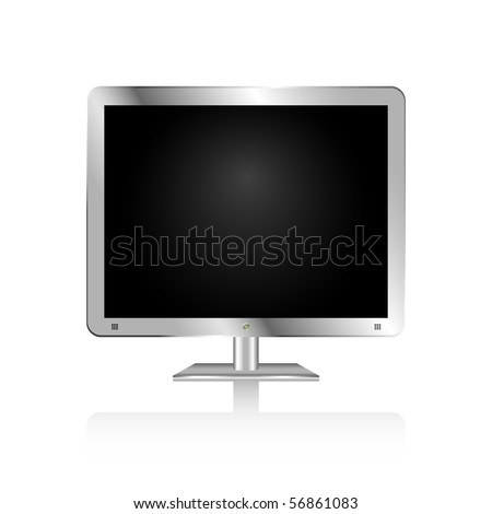 Silver flat screen display with green power button and speaker holes. - stock vector