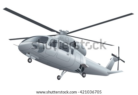 silver flying helicopter with chassis in the air - stock vector