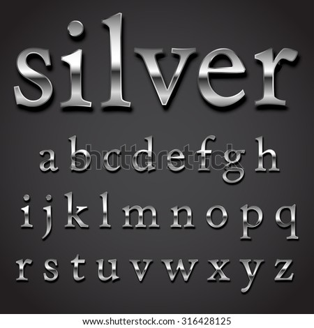 Silver font Vector set -  lowercase letters character part