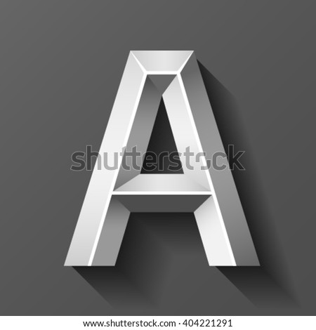 Silver font with bevel, letter A vector - stock vector