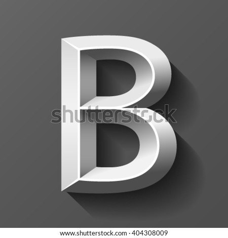 Silver font with bevel, letter B vector - stock vector