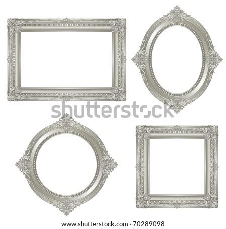 silver frame. vector. - stock vector