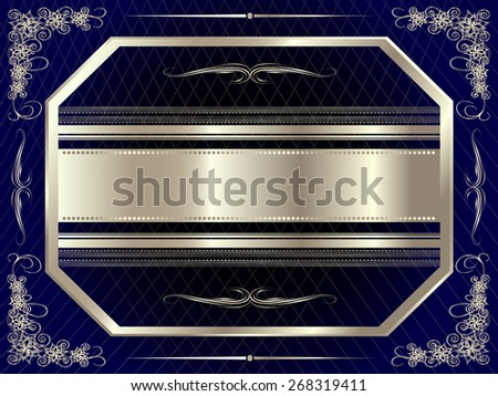 Silver frame with floral elements for your design - stock vector