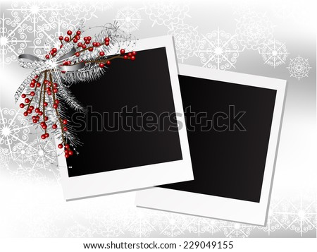 Silver garland with bow and needles in the frames - stock vector