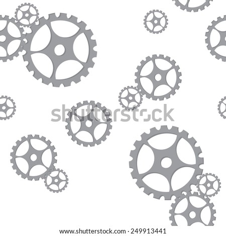 Silver gears seamless pattern vector , industrial design