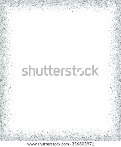 Silver glitter background. Silver sparkle frame. Template for holiday designs, invitation, party, birthday, wedding. - stock vector